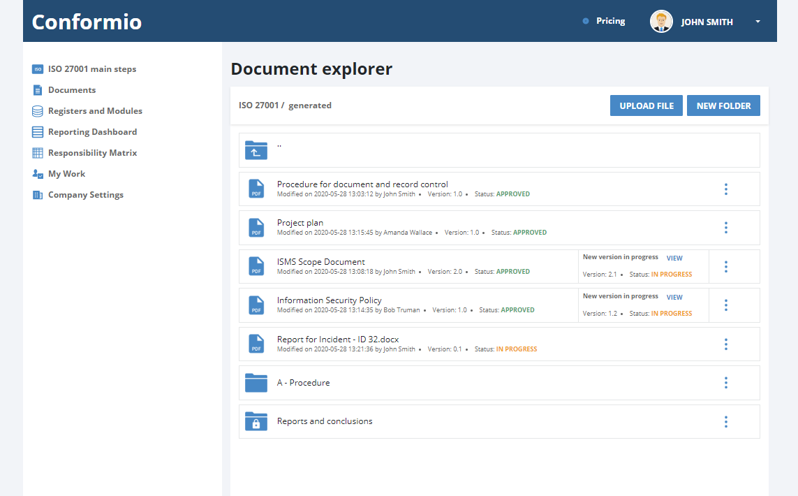 Documentation management system in Conformio