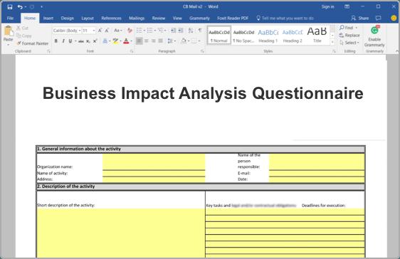 iso 22301 business impact analysis  bia  toolkit