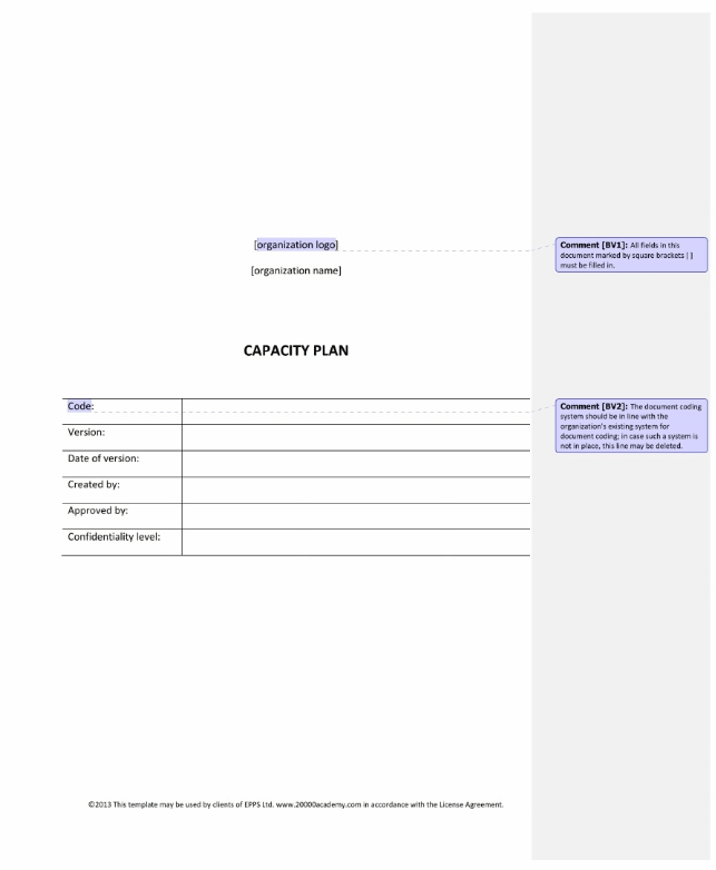 Itil service design itil capacity plan for Itil capacity plan template