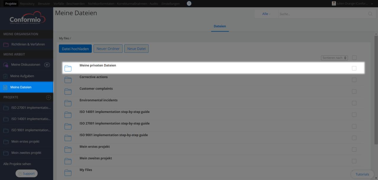 """Hochladen einzelner Dateien zu """"Meine privaten Dateien"""" - Kundenberatung"""