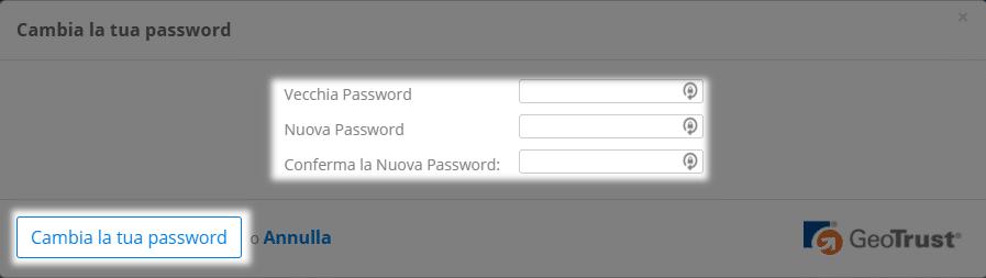 Cambiare la password utente - Centro assistenza