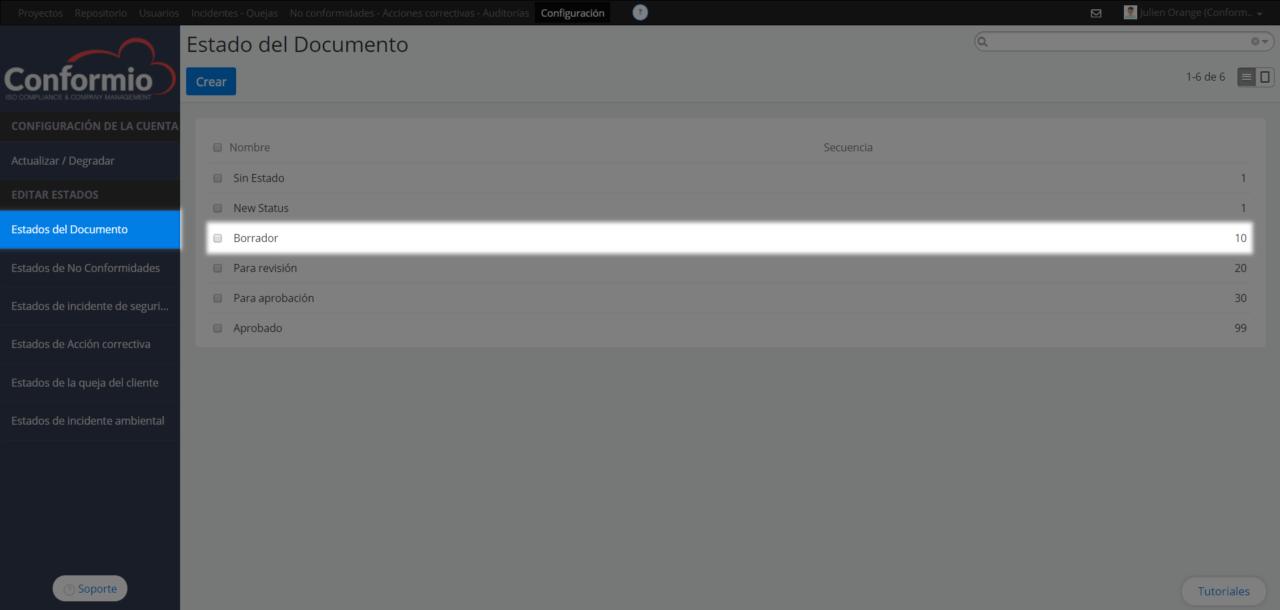 Configurar su cuenta Conformio - Centro de soporte
