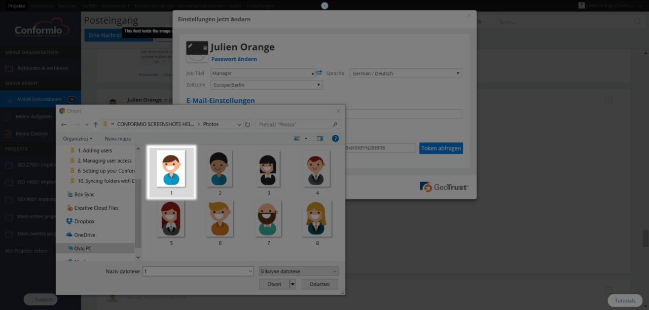 Ein Nutzerprofilbild hinzufügen - Kundenberatung