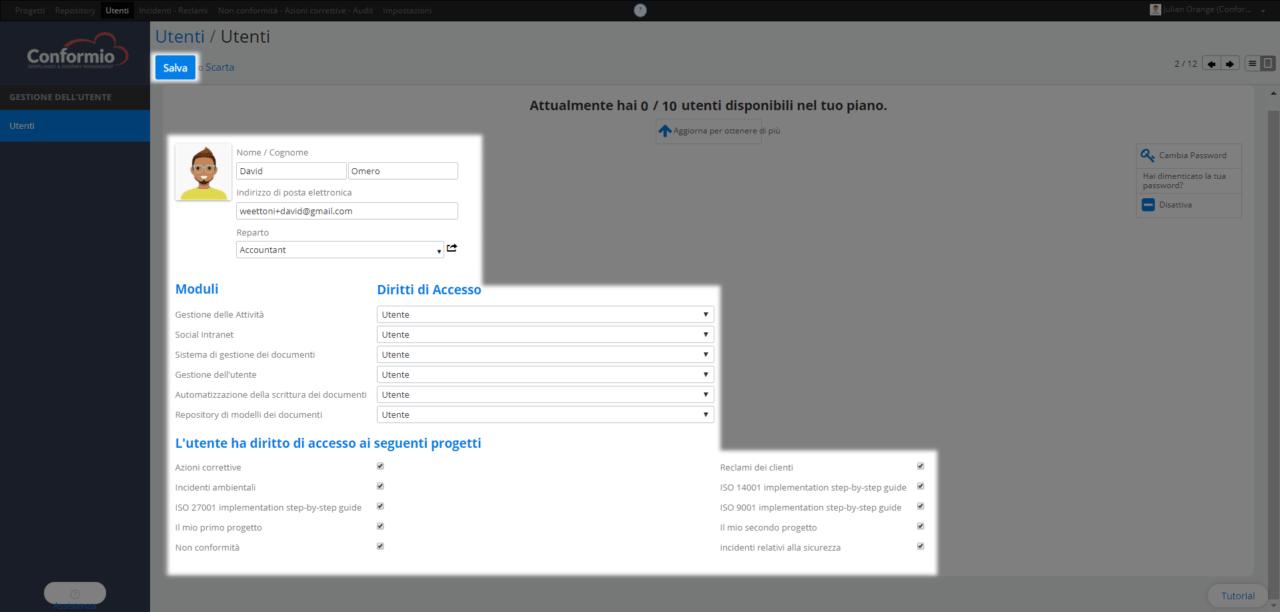 Gestire l'accesso degli utenti - Centro assistenza