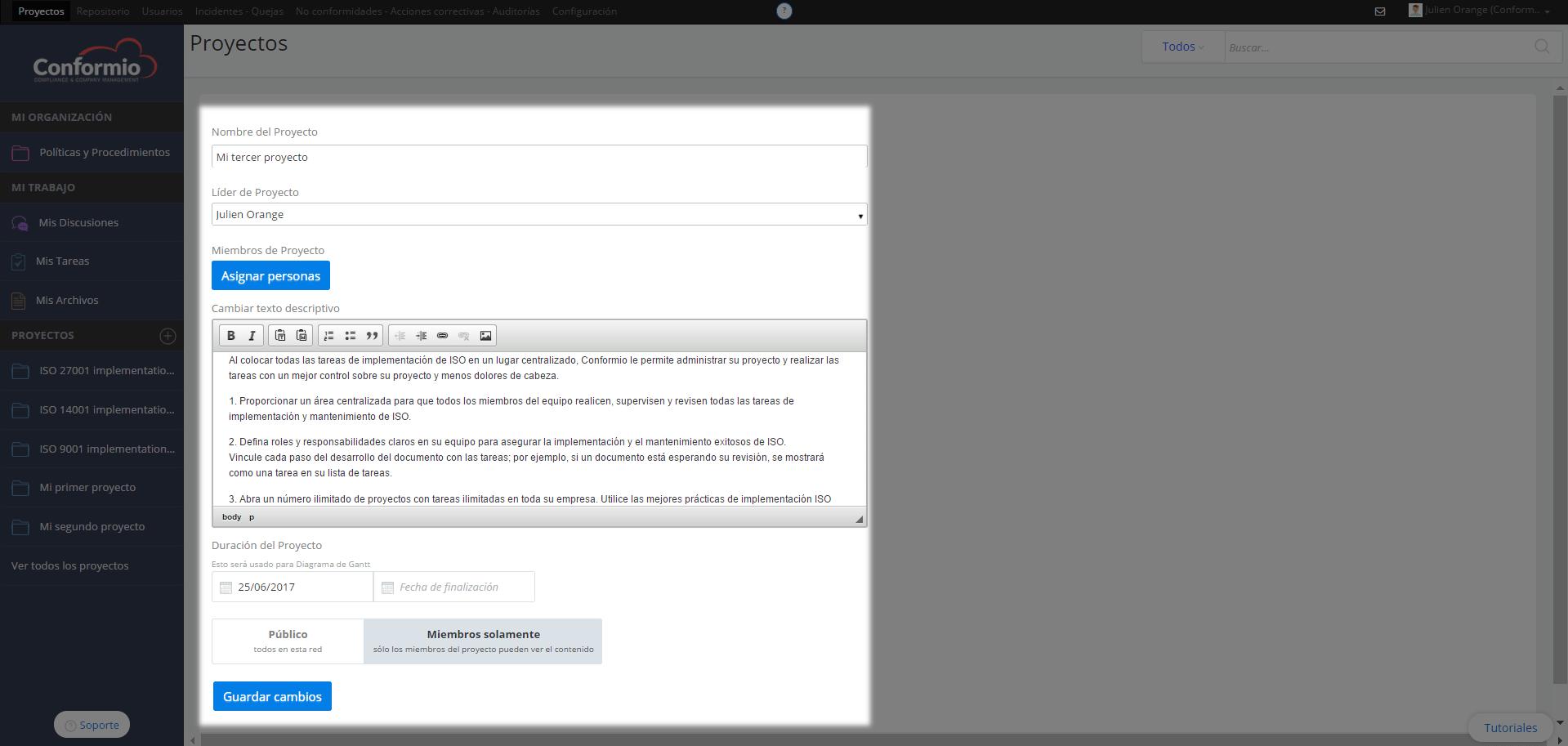 Añadir un proyecto - Centro de soporte