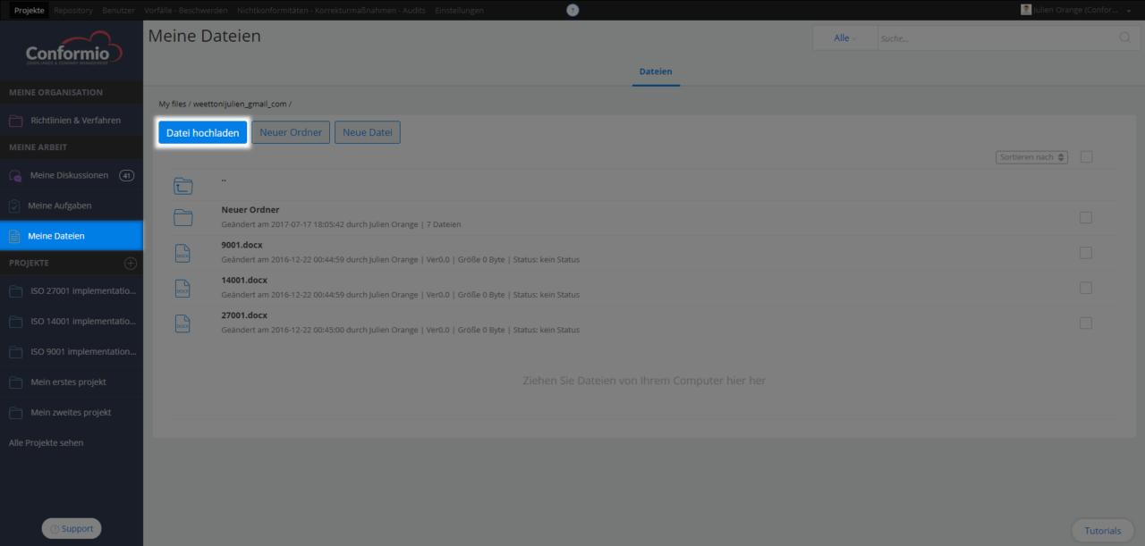 """Hochladen mehrerer Dateien zu """"Meine privaten Dateien"""" - Kundenberatung"""