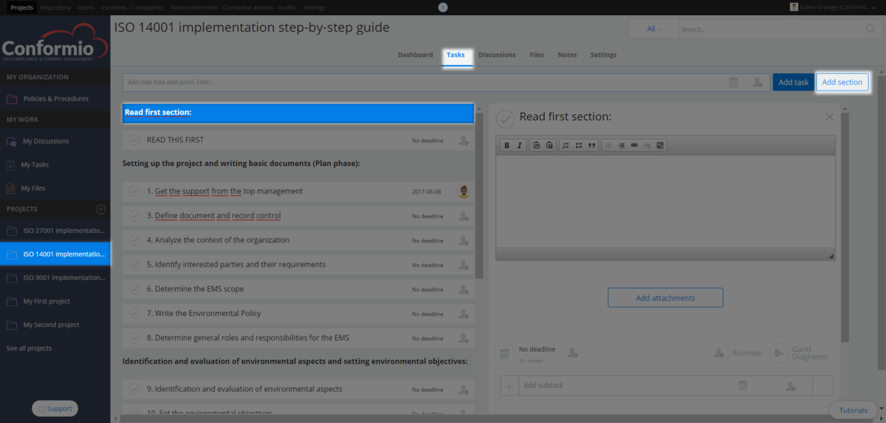 Organizing tasks with sections - Support Center