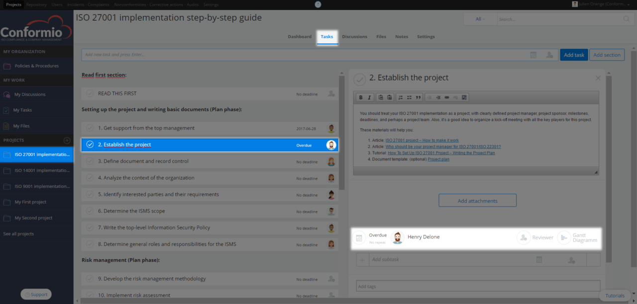 Setting up task owner, due date, and reviewer - Support Center