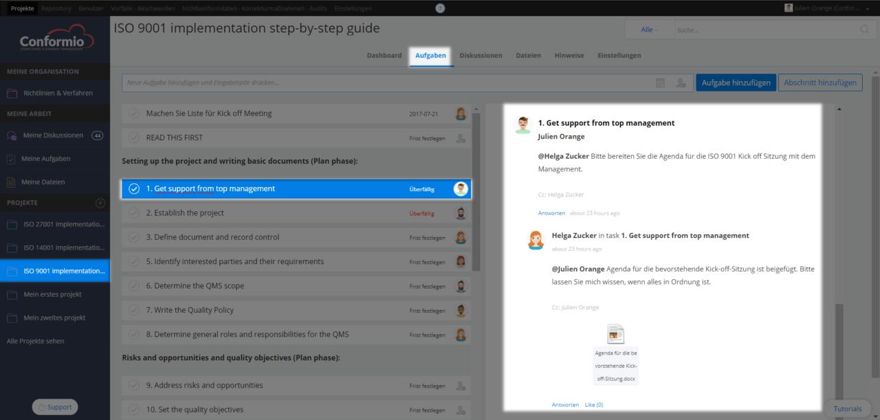 Eine Aufgabendiskussion beginnen - Kundenberatung