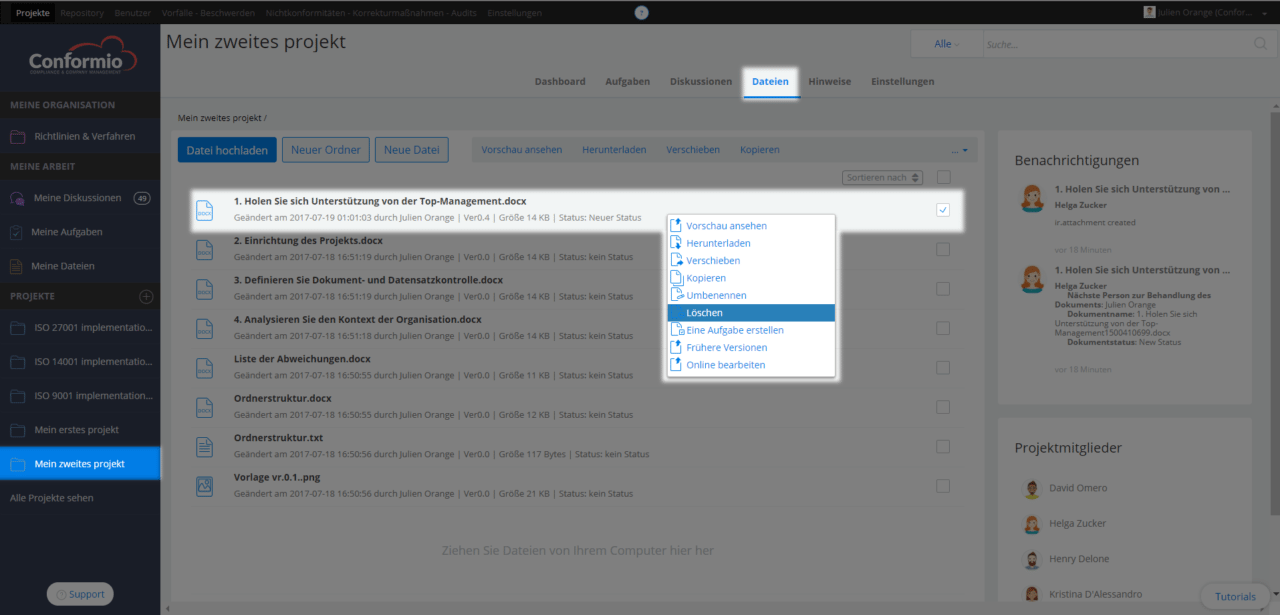 Eine Datei löschen - Kundenberatung