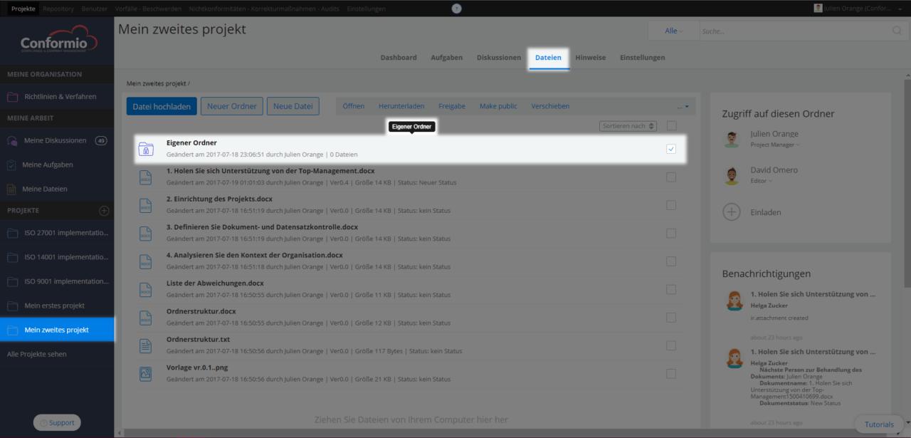 Nutzerzugriffsrechte eines Ordners verwalten - Kundenberatung