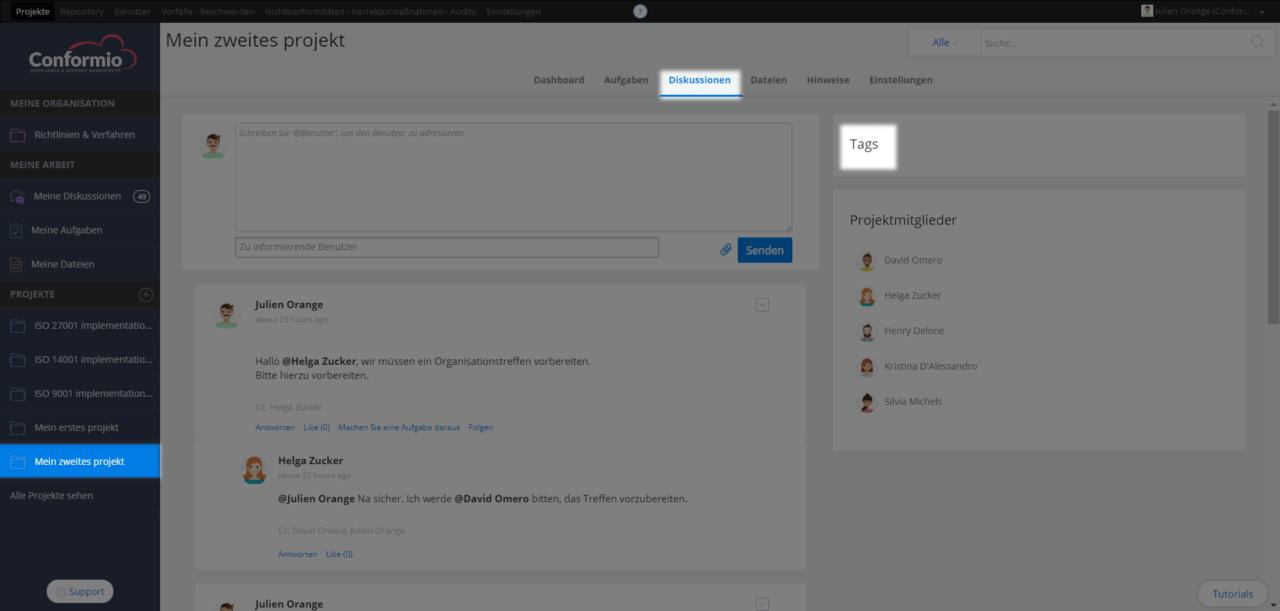 Projektdiskussionen anhand von Tags filtern - Kundenberatung