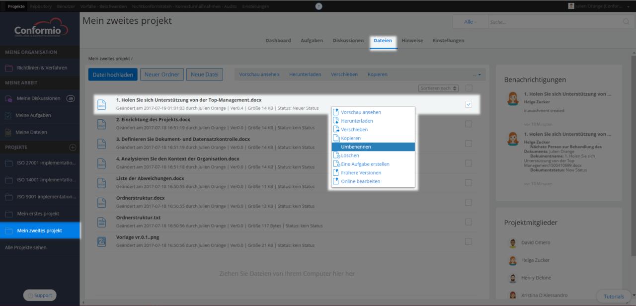 Eine Datei umbenennen - Kundenberatung