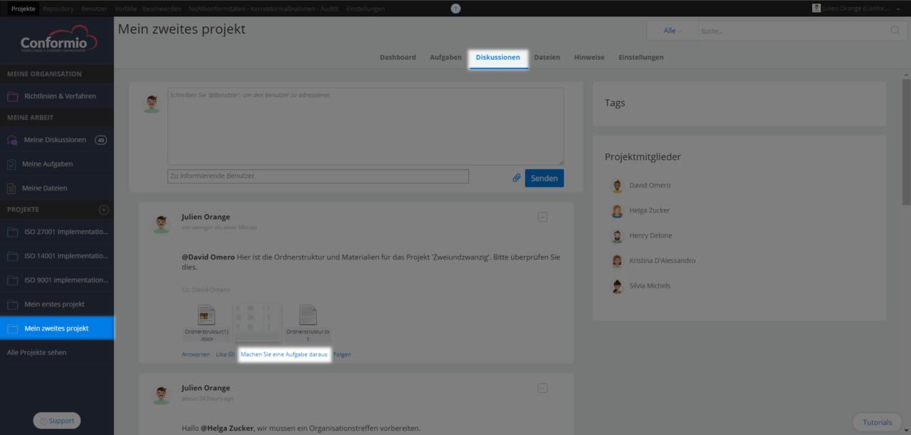 Eine Aufgabe von einer Projektdiskussion aus beginnen - Kundenberatung