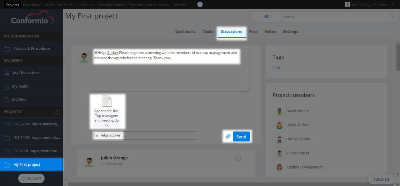 Adding an attachment to a project discussion - Support Center