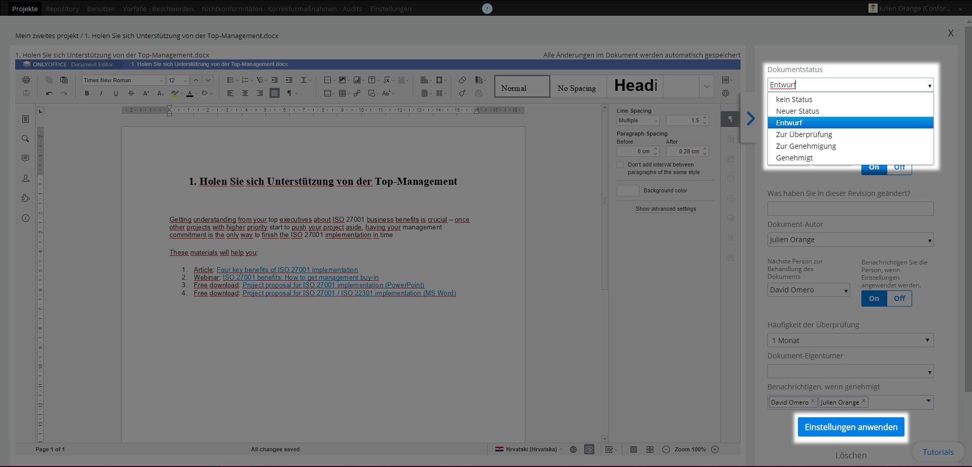 Status eines Dokuments festlegen - Kundenberatung