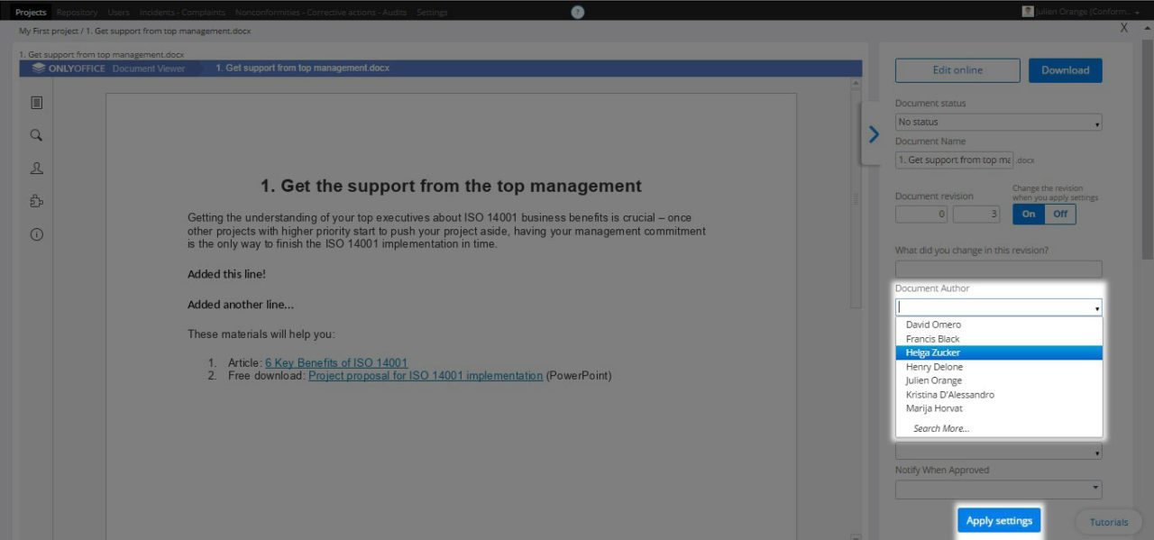 Setting a document author - Support Center