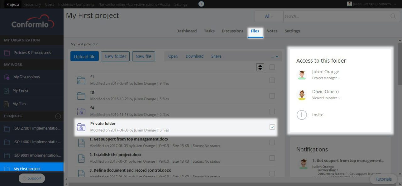 Sharing private folders with other users - Support Center