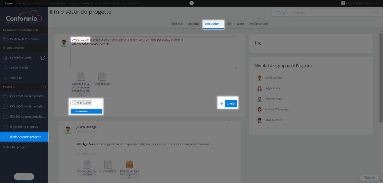 Menzionare gli utenti nella discussione di un progetto - Centro assistenza