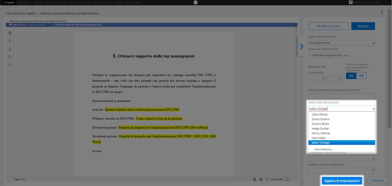 Impostare l'autore di un documento - Centro assistenza
