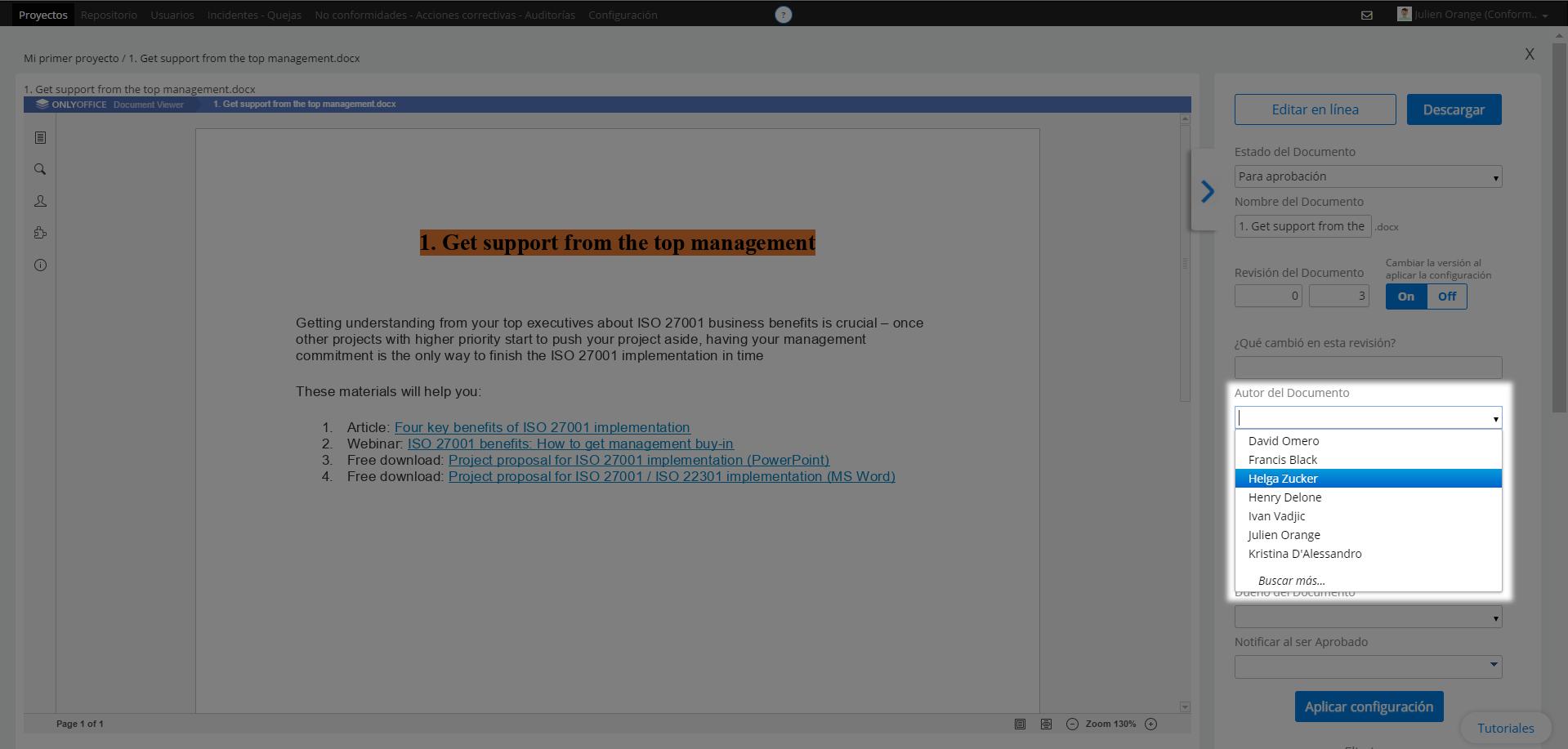 Establecer autor del documento - Centro de soporte