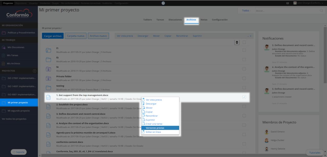 Versionar documentos & control de versiones - Centro de soporte